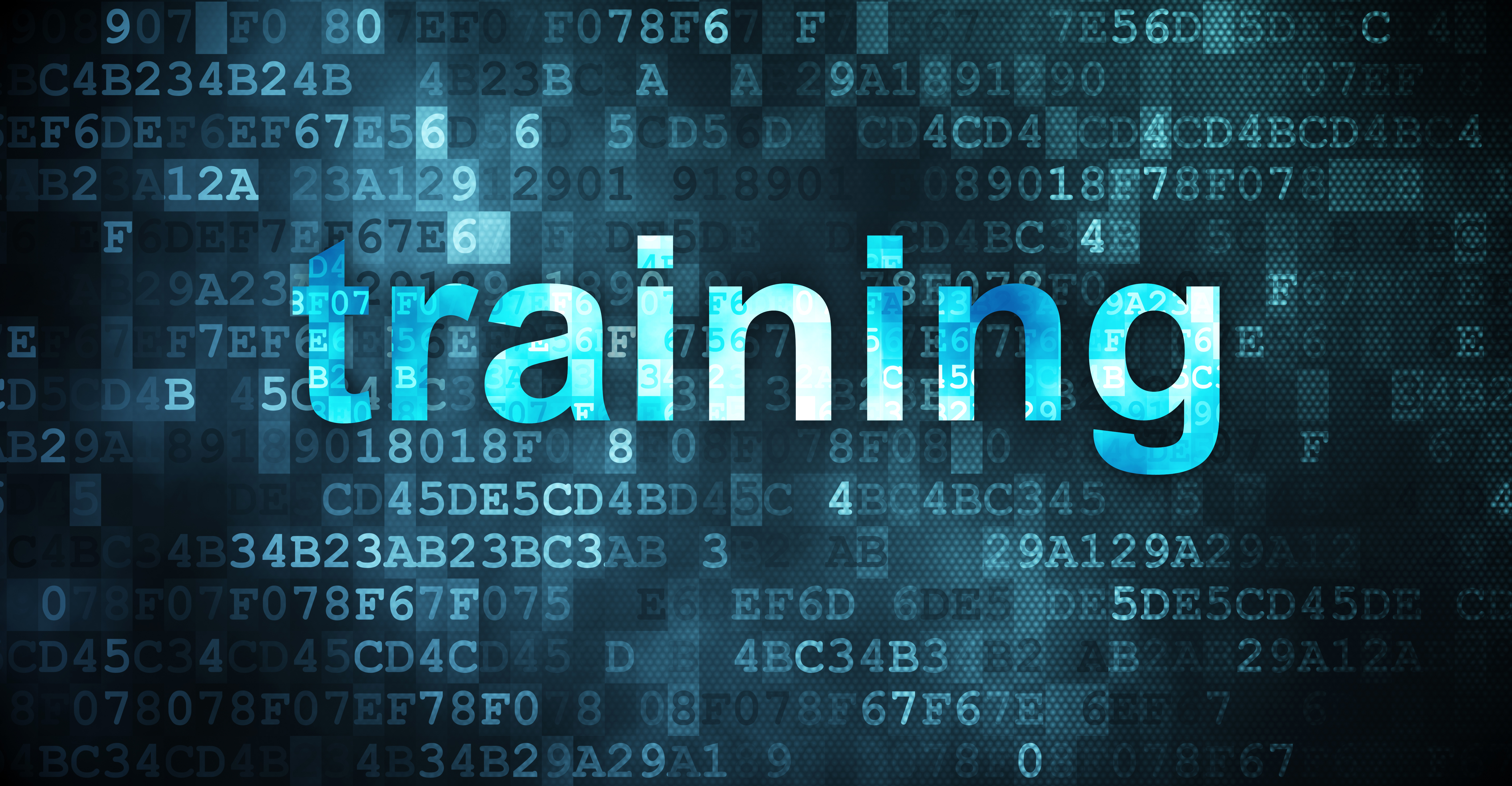 Training concept on blue code background