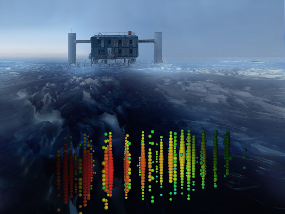 A visual representation of one of the highest-energy neutrino detections superimposed on a view of the IceCube Lab at the South Pole.
